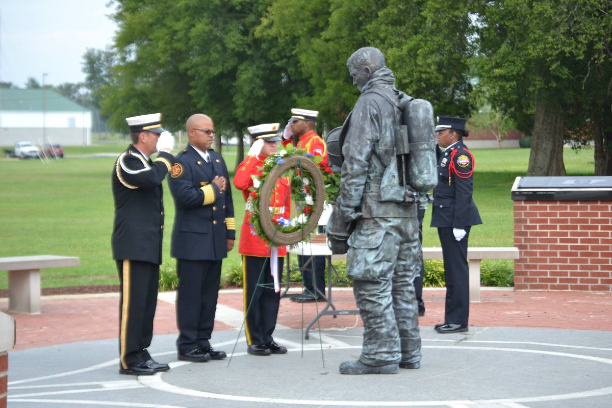 Wreath being presented during Memorial service.